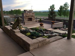 Green Valley Ranch Landscaper outdoor Fireplace water feature